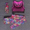 Mulheres conjuntos de yoga fitness esportes ginásio treino sportswear 3 pçs/set headband + coletes à prova de sutiã top + calças impressas skinny elasticidade terno do esporte