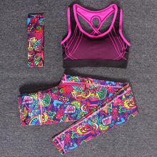 Women Yoga Fitness Sports Sets Gym Workout Sportswear 3pcs Set Tracksuits Headband Bra Printed Yoga Pants