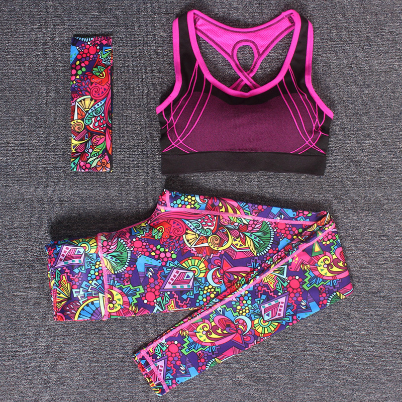 Women Yoga Fitness Sports Sets Gym Workout <font><b>Sportswear</b></font> 3pcs/Set Tracksuits Headband+Bra+Printed Yoga Pants Sport Leggings Suits