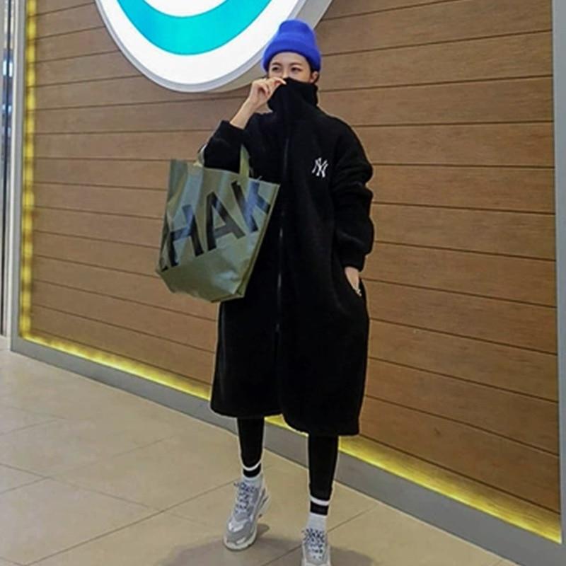 Mode zipper long style col montant vestes à capuche femmes chaud polaire épaississement décontracté sweat pour automne et hiver