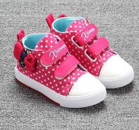 2015 Autumn Children Shoes Girls Shoes Lovely Butterfly Knot High Top Canvas Kids Shoes For Girl
