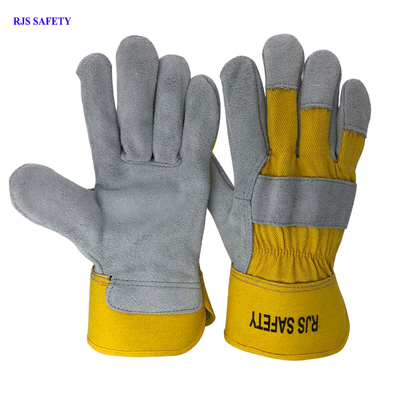 RJS SAFETY Working Gloves Cowhide Leather Men Working Welding Gloves Safety Protective Sports MOTO Wear-resisting GlovesNG7016