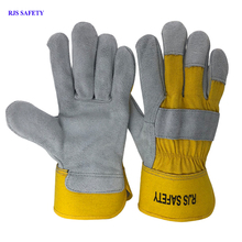 RJS SAFETY Working Gloves Cowhide Leather Men Working Welding Gloves Safety Protective Sports MOTO Wear-resisting GlovesNG7016 wear resistant cowhide welding leather sleeves of welder clothing with high temperature resistance working safety sleeves g0823
