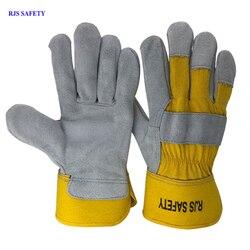 RJS ochronne rękawice robocze skóra bydlęca mężczyźni pracy rękawice spawalnicze ochronne sportowe ochronne MOTO odporne na zużycie GlovesNG7016