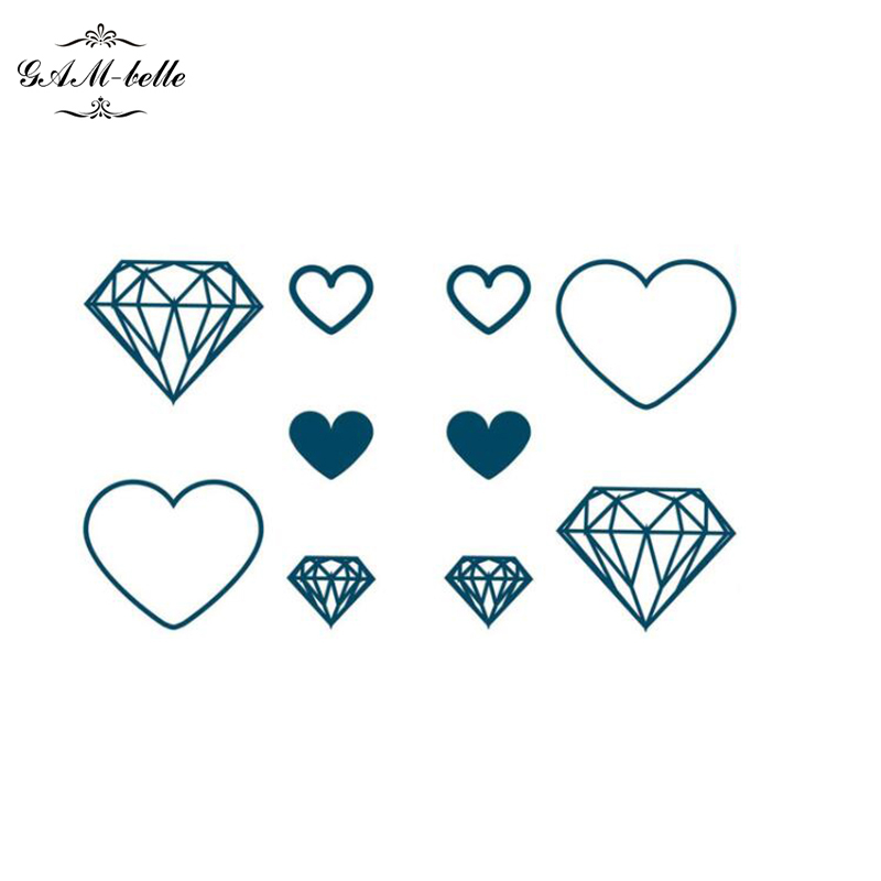 Original Finger Diamond And Heart Tattoo Stickers Lovely And Waterproof Durable Diamond Tattoo Stickers