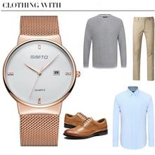 GIMTO Fashion Watch Men Black Full Steel Date Business Men Wrist Watch Boy Casual Analog Quartz-watch Relogio Masculino Montre