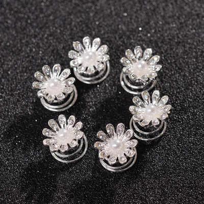 AOMU One PCS bal cristal perle fleur épingles à cheveux spirale torsion flocon de neige pince à cheveux mariée accessoires de mariage diadème cheveux bijoux