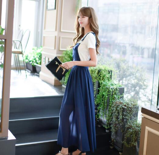 Free Hot Sale O-neck Ankle-length Shipingeurope And The 2019 Summer Girl Sweet New Fashion Strap Dress Women's Chiffon Suit 1