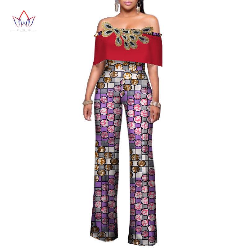 BRW Women Clothing Africa Rompers Womens Jumpsuit Bazin Riche Out Off Shoulder Long Pants for Women High Waist Bodysuit WY2481 in Jumpsuits from Women 39 s Clothing