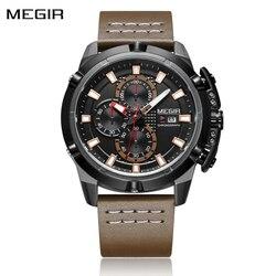 Zegarek Relogio Masculino mężczyźni chronograf Megir sportowy zegarek armii męski zegarek wojskowy Top marka luksusowe wodoodporna skóra zegar
