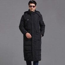 TITOTATO, новинка, пуховики с рисунком, мужские длинные свободные черные теплые пальто, одноцветные модные трендовые пуховики