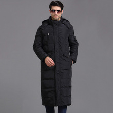 TITOTATO 2018 New Pattern Down Jackets Man Long Fund Loose Black Warm Wear Coat Even Hat Solid Color Fashion Trend
