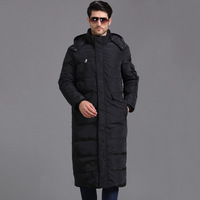 TITOTATO 2018 New Pattern Down Jackets Man Long Fund Loose Black Warm Wear Coat Even Hat Solid Color Fashion Trend Down Jackets