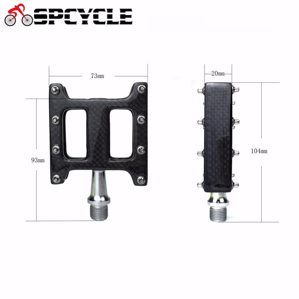 Pédales de vélo de VTT vtt route Spcycle, pédales plates de vélo de route vtt tout carbone Ultra-léger 2 roulements corps en carbone 3 K