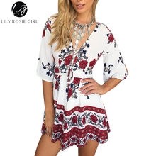 Boho Red Floral Print Women Jumpsuit Romper Summer Style Lace Up V Neck Sexy Party Playsuit 2016 Beach Elegant Short Overalls