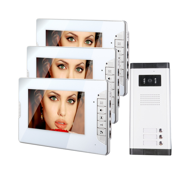 "FREE SHIPPING 7"" Video Intercom Apartment Door Phone System 3 Monitor + 1 Doorbell Camera For 3 House Family In Stock Wholesale"