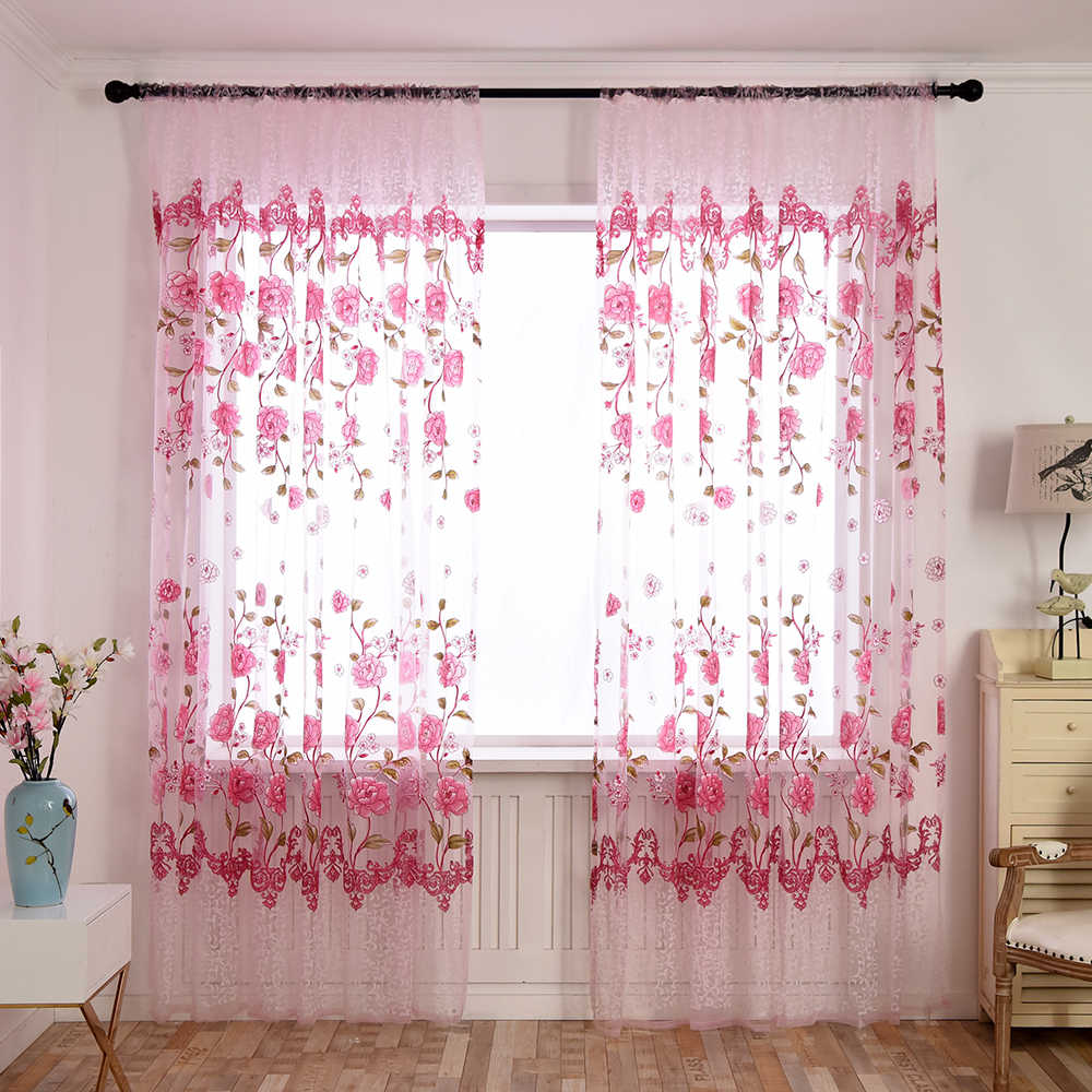 Urijk Pink Peony Flower Printed Tulle Curtains For Living Room Transparent Tulle Curtains Modern Window Drapes Sheer For Bedroom