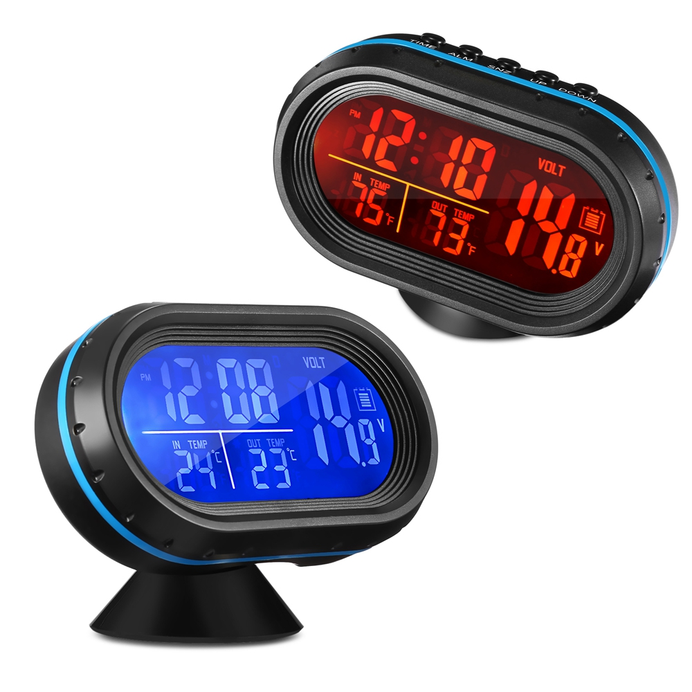 Free Shipping Car Digital LCD Clock with Thermometer and Automotive Voltmeter 4 in 1 LED dual color backlight Auto clock style