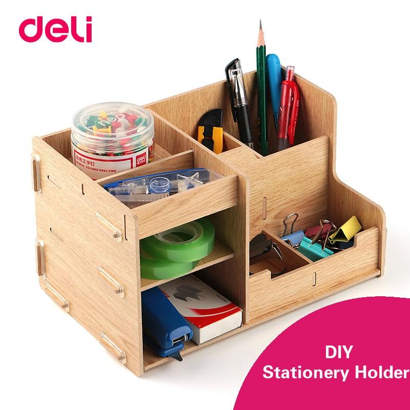 DELI Multi function Combo Storage Box Stationery Pencil Holder Wooden Pen Holder DIY Desk Accessories Organizer School Supplies