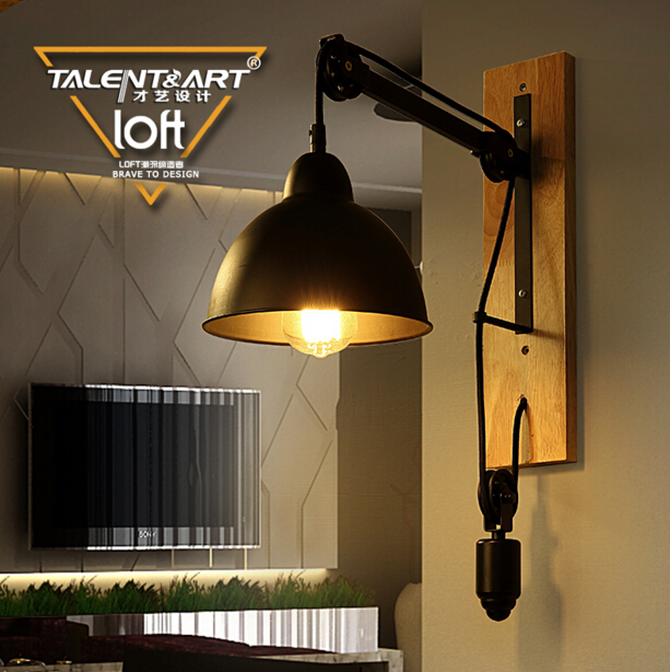 Loft American Industry Retro Creative Iron Aisle Bedside Wall Lamp Restaurant Lifting Pulley E27 LED Wall Light Free Shipping free shipping american retro nostalgia aisle wall bar lamp loft single head lamp of creative industry