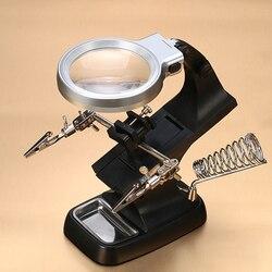 Helfende Hand 3X 4.5X Schweißen Lupe LED Lupe Lupe Alligator Clip Halter Clamp Löten Eisen Reparatur Werkzeug