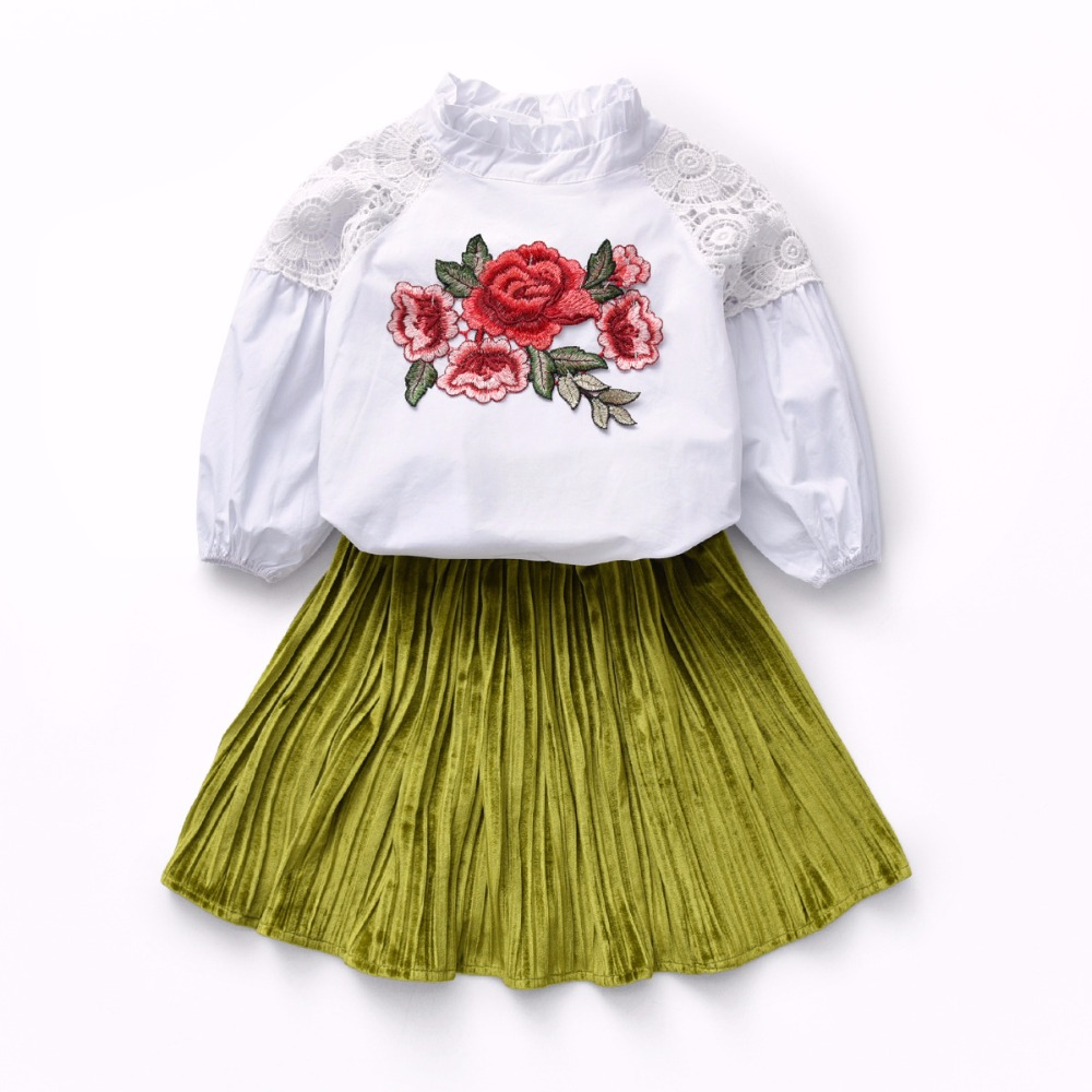 High Quality Children Girl 2Pcs Clothes Set Baby Puff Sleeve Embroidery Rose White T-shirt + Gold velvet Skirt 2Pcs Clothing Set 2pcs set baby clothes set boy