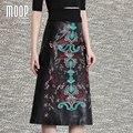 Boho floral bordado negro faldas de cuero genuino de las mujeres Una Línea de falda larga faldas jupe saia falda LT806 etek 100% de piel de cordero
