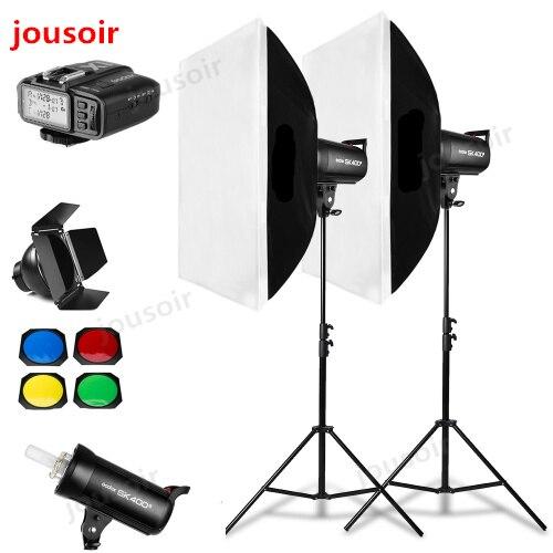 800Ws Godox SK400 II 2x400 Ws éclairage Flash Studio Photo, Softbox, support de lumière 280 cm, porte de grange, récepteurs intégrés Flash CD50
