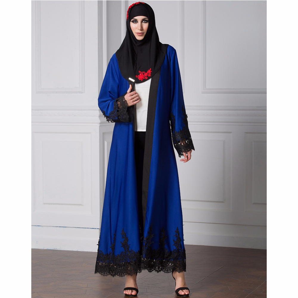 Islamic Abaya Dress Muslim Women Dress Long Sleeve Abaya Clothing Robe Kaftan Embroidery Style Beauty Lace Elegant