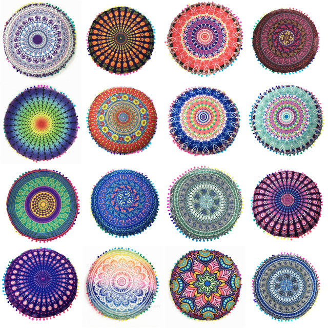 Homing Mandala Elephant Pattern Cushion Cover Yoga Bohemian Tassel Paisley Throw Cozy Pillow Cover Meditation Cushion Decorative