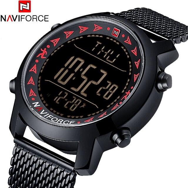 fb94bcc11e0 2018 Novo do Homem da Marca NAVIFORCE Relógios Moda Esporte Casual Digital  Relógio de Quartzo Cheio