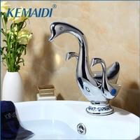 KEMAIDI Cute Duck Shape Double Handles Bathroom Vessel Sink Faucet Deck Mount Brass Washbasin Sink Mixer Taps