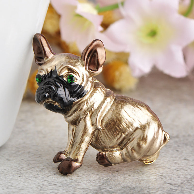 Blucome Cute Pug Dog Brooches Green Eyes Animal Corsage Pins Kids Girls Shirt Coat Clips Brooches Clothes Accessories Jewelry