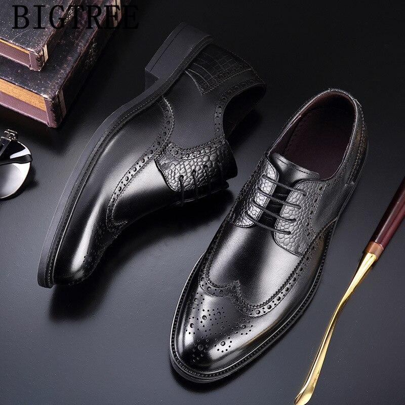 official shoes men classic brogue shoes men elegant genuine leather shoes men formal coiffeur luxury brand chaussure homme bona