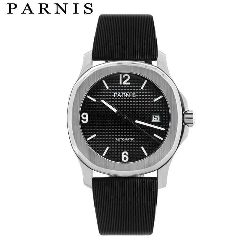 40mm Parnis Mécanique Montres Hommes Automatique Montre reloj hombre automatico Marque Bracelet En Caoutchouc Auto Date Sport Mâle xfcs Horloge