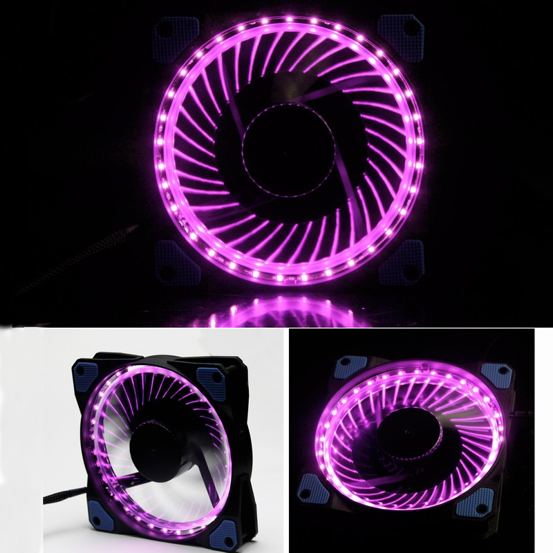 Gdstime 1 Pcs Solar Eclipse Purple Yellow LED Fan 12V 3 Pin 4 Pin Computer Case Cooling Fan 120mm DC 120x25mm Hydraulic gdstime 10 pcs dc 12v 14025 pc case cooling fan 140mm x 25mm 14cm 2 wire 2pin connector computer 140x140x25mm
