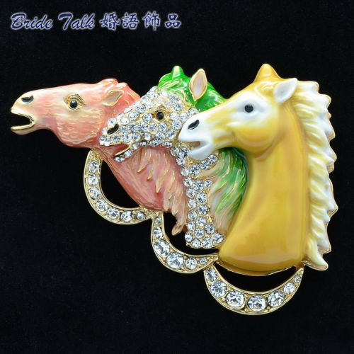 Горный хрусталь, Кристаллы 3 Лошади Heads Брошь Брошь Pin Аксессуары