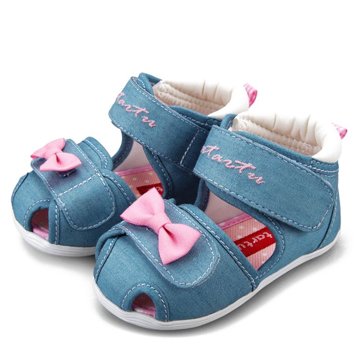 ABWE Best Sale Crtartu Summer Style 1 Pair Light Blue Canvas Paste Cartoon Bowknot Baby Step Shoes Baby 17cm