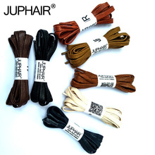 N 1-12 Pair Beige Waxed Cotton Flat Shoelaces Leather Shoestring Boots Sport Shoe Martin Boot Fashion Casual Laces High Quality