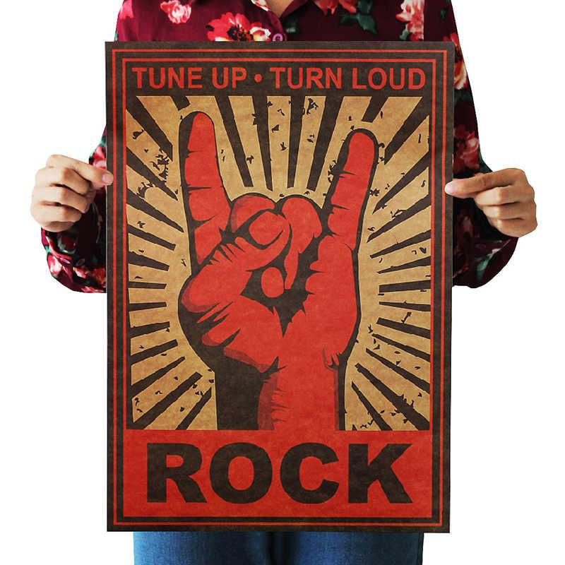 Dlkklb Hoài Cổ Ban Nhạc Rock Giấy Kraft Nhạc Cafe Thanh Poster Retro Poster Trang Trí Tranh 51X36 Cm Đá không Chết Decal Dán Tường