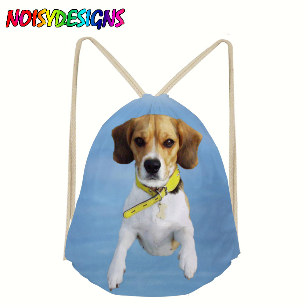 Dog Pattern Drawstring Bag Women Beagle Printing Linen Drawstring Bags For Teenagers Travel Beach Gym Shoes Sports Cloth Pack