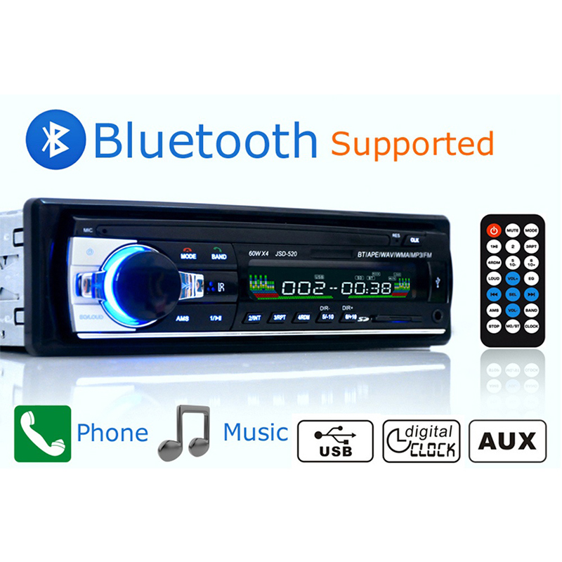 <font><b>Autoradio</b></font> 12V <font><b>Bluetooth</b></font> V2.0 <font><b>Car</b></font> <font><b>Radio</b></font> <font><b>Car</b></font> Stereo In-dash <font><b>1</b></font> <font><b>Din</b></font> FM Aux Input Receiver <font><b>SD</b></font> USB <font><b>MP3</b></font> MMC WMA <font><b>Car</b></font> <font><b>Radio</b></font> <font><b>Player</b></font> image