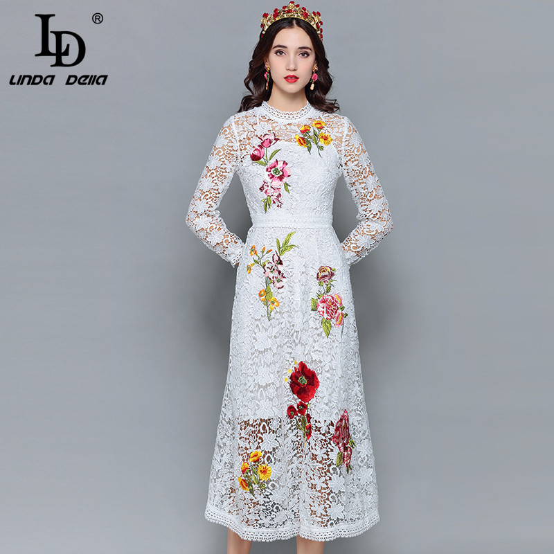 LD LINDA DELLA Fashion Designer Autumn Dress Women s Long Sleeve Hollow out Lace Flower Embroidery