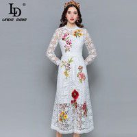 LD LINDA DELLA Fashion Designer Autumn Dress Women's Long Sleeve Hollow out Lace Flower Embroidery Midi White Elegant Dress