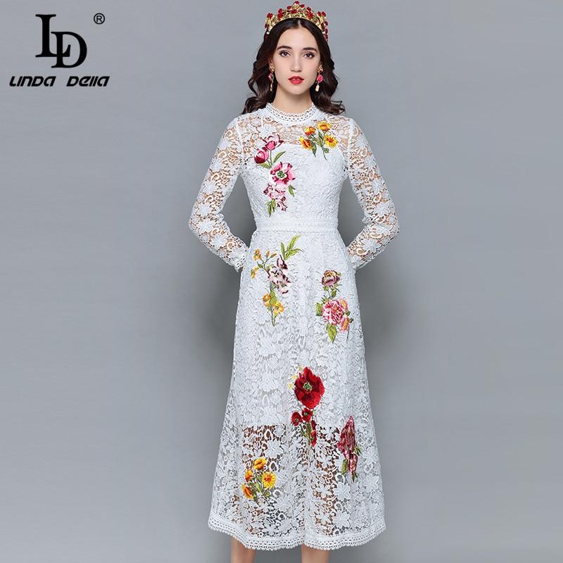 3edec1407f77505 LD Linda della модные дизайнерские осенние платья женские с длинным рукавом  выдалбливают кружево цветок вышивка миди