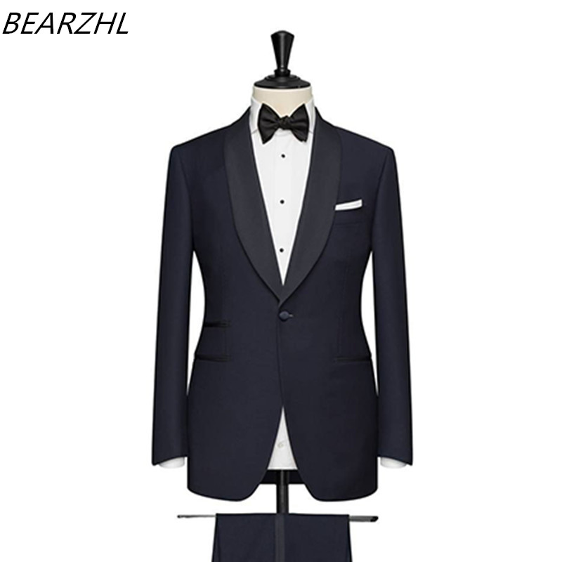 Wedding Tuxedos Navy Blue For Groom Wear Slim Fit Modern 2019 Custom Made Suits Men Suit
