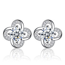 XIYANIKE New Fashion 925 Sterling Silver Stud Earrings Love Lucky Clover Crystal Flower Female Ear Jewelry Girl Brincos VES6661(China)