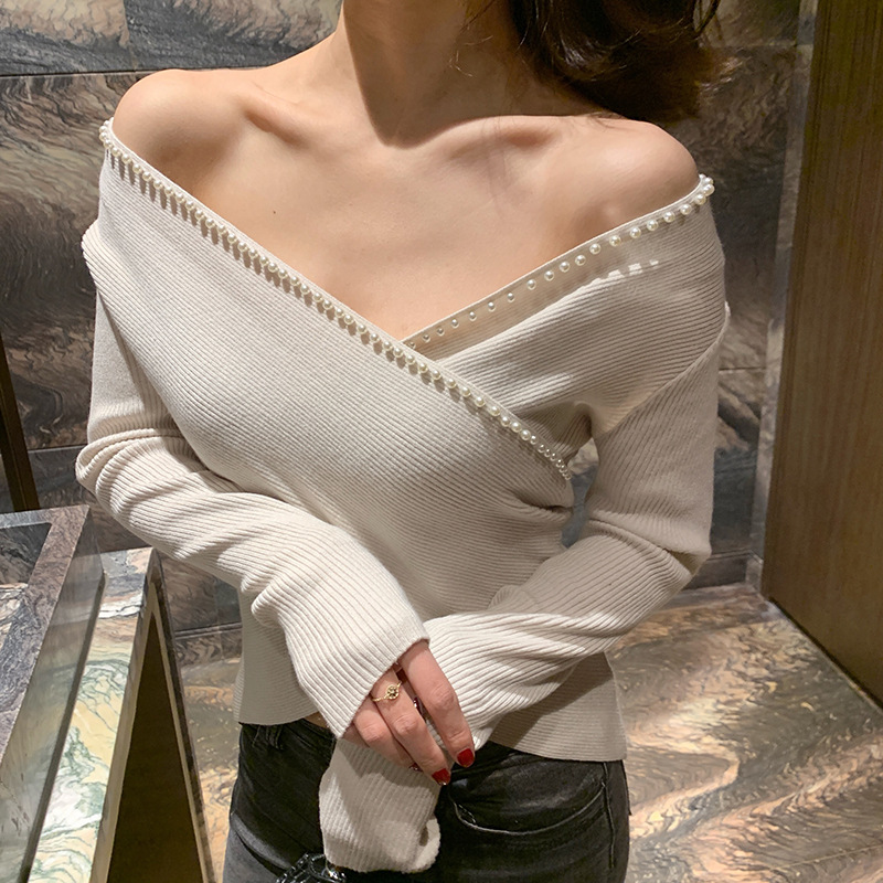 Sexy V Neck Pullover Sweater Women Jumper 2019 Pearls Sweater Female Jumper Cross Top Autumn Winter Knitted Sweaters AS017S50(China)