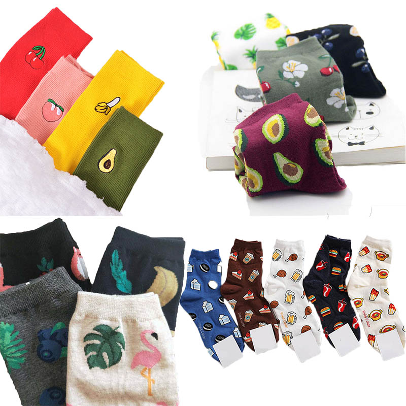 Korean Fresh Harajuku Fruits Sock Women Funny Animal Flamingos Lemon Pineapple Cherry Blueberry Gardenias Calcetines Mujer