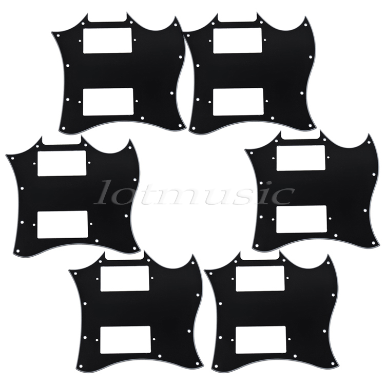 6Pcs 3ply Black Full Face Double Pickup Guitar Scratch Plate Pickguard for Electric Guitar Replacement kaish standard sg special guitar full face pickguard w p90 pickup hole black 3 ply